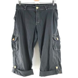 Lucy Dark Gray Cuffed Cargo Capri Pants XL